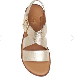 Franco Sarto Platino Metallic Buckle Sandals, NIB